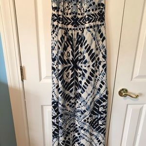 Chico's Dresses - Chico's white with blue & black designs maxi dress